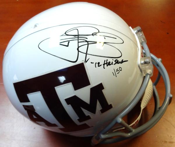 Johnny Manziel Autographed Texas A&M Aggies Helmet 12 Heisman #1/50 ...